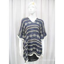 Леди мода хлопок полиэстер вуаль вязаные вышивка рубашка (YKY2228)