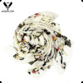 High Quality Printing Butterfly and Flower Pure Silk Scarf for Women