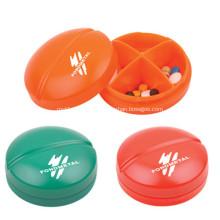 Plástico promocional redondo de la caja de la píldora de forma