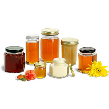 Hot Sale Honey Glass Jar / garrafas com tampa de metal