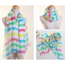 Lady Fashion Polyester en mousseline de soie foulard avec impression de rayures (YKY1004)