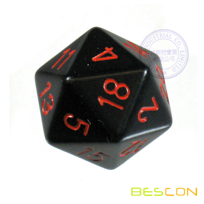 Opaque Black Polyhedral 20 Sides Dice with Red Numbers