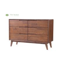 Dark Walnut Dresser of 6 Drawers
