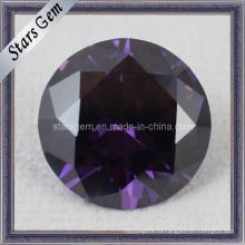 Бриллиантовая огранка круглой формы Фиолетовый кубический драгоценный камень циркония