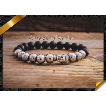 Piedra de ágata y aleación de cuentas de plata Buda encantos pulsera elástica (CB044)