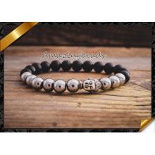 Pedra de ágata e liga de pérolas de prata pulseira de encantos de Buda (CB044)