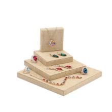 Carrinho de exposição de jóias de linho para colar pingente de anéis (WST-P9-BL)