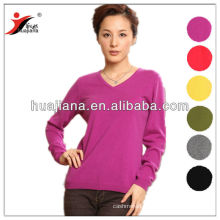 v neck flat knitting women's sweater