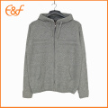 Mens Grey Knitted Hooded Cardigan Sweater With Zipper