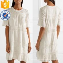 Vente chaude Blanc Coton Plissé Manches Courtes Mini Robe Fabrication En Gros Mode Femmes Vêtements (TA0316D)