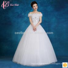 Apliques de encaje que rebordea el vestido de bola barato hecho por encargo más el vestido de boda de la princesa del tamaño