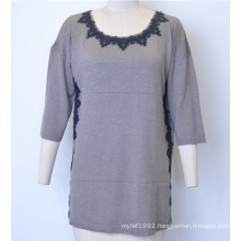 Women Losse Pullover Knit Sweater with Lace
