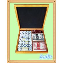 Doble 6 domino y paquete de pokers en caja de madera