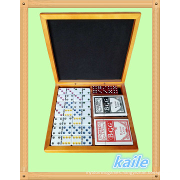 Double 6 domino and pokers pack in wooden box