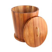 Cubo de arroz de venta caliente o recipiente de almacenamiento de madera