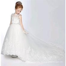 vestido de noiva 2017 vestido longo chiffon novo estilo meninas branco vestido de princesa artesanal