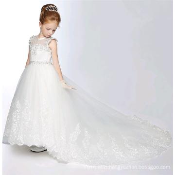 wedding dress 2017 long dress chiffon new style girls white handmade princess dress