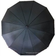 Black Pongee Straight Umbrella (JYSU-22)