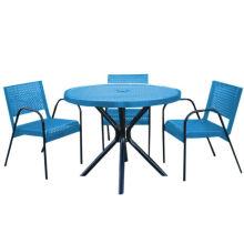 Sala de jantar mesa de mesa de jardim com cadeiras de aço de carbono