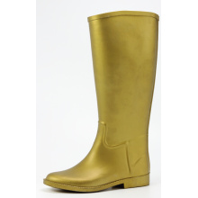 Bright Golden Women Riding Rubber Rain Boots