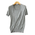 Women 14gg short sleeves thin sweater for spring/summer solid color o neck cashmere sweater shirts