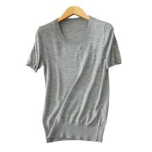 Frauen 14gg kurzen Ärmeln dünnen Pullover für Frühjahr / Sommer einfarbig O-Ansatz Kaschmir-Pullover Hemden