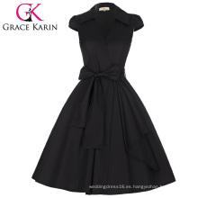 Grace Karin Cap manga cuello de la solapa de cuello en V retro Vintage vestido de fiesta de alto estirado CL008953-1