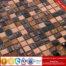 barato baldosas de mosaico marrón mezclado caliente - derrite la baldosa de mosaico de vidrio