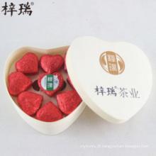 Caixas de presente refinado da forma do coração O chá de Pu'er, mini-tuocha flavored cor-de-rosa do tigre, o melhor chá do presente