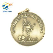Medalha movente do metal dos esportes do metal feito sob encomenda antigo do zinco do metal da liga do ouro 3D