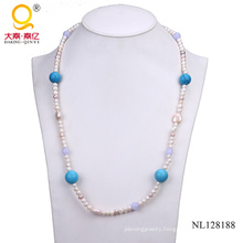 Potato Shape Pearl and Turquoise Bead Fashion Necklace for Woman