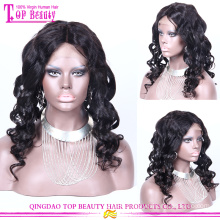 7a Virgin peruvian virgin human hair wig natural color wave peruvian full lace wig