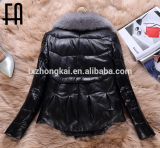 Factory wholesale winter lamb leather jacket with fox fur collar