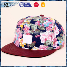 Casquettes en gros de haute qualité Custom 5 chapeaux en forme de chapeau en forme de chapeau / chapeaux de sport / badge en cuir imprimé chapeau 5 panneaux /
