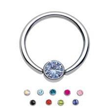 Jóia titanium do corpo 14G que perfura o anel do fechamento da esfera do anel de nariz da pedra da gema de CZ