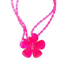 Grand collier de déclaration de fleur en cristal rose chaud audacieux de luxe pour la partie ou le spectacle