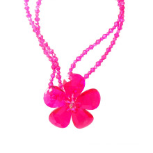 Luxury Big Bold Hot Pink Crystal Flower Statement Necklace for Party or Show