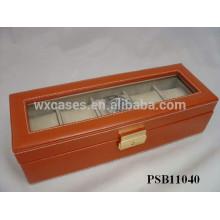 caja de reloj de cuero para 5 relojes por mayor fabricante