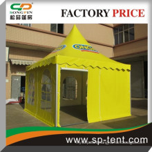 Aluminum Frame 6x6m yellow PVC pagoda event tent with logo printing