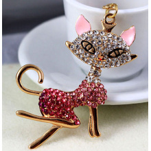 Enchanting miss fox exquisite diamond key chain