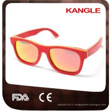 Fournisseur de Wenzhou certifié par la FDA de la CE avec la lentille polarisée Lunettes de soleil en bois de skateboard