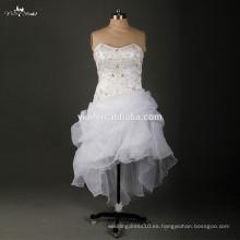 RSW897 Sexy corto delantero largo bordado diseños de vestidos de novia para mujer gorda y chica baja