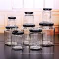 Custom 4oz 6oz 120ml hexagon glass jar for caviar jam honey with black metal twist cap