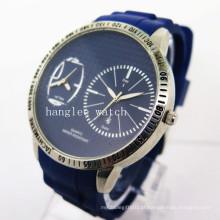 Relógio de homens de aço inoxidável de zona de movimento duplo novo estilo (hl-cd027)