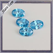 Alta calidad Aqua Blue 8 * 6 piedra ovalada de la CZ para la joyería