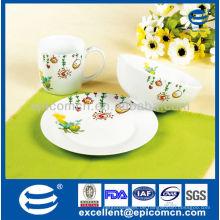 Schöne Dekoration 3pcs Porzellan Kinder Frühstück mit Getreide Schüssel und keramischen Becher gesetzt