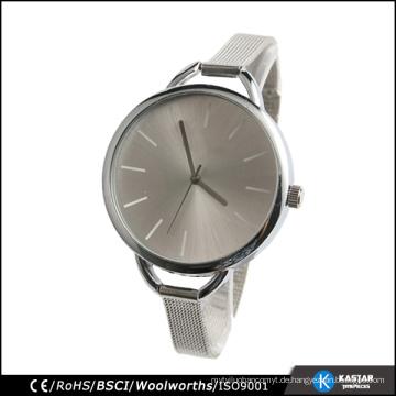 Quarzuhr chinesische Bewegung sunray Zifferblatt Silber Mesh Uhr, BSCI Uhr Fabrik