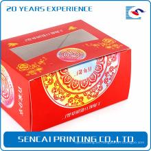 Sencai barato simple festivo caja de pastel de arroz con estampado de logotipo y recortes de papel para decoración de ventana