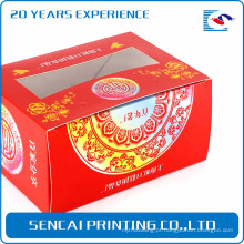 Sencai barato simples caixa de bolo de arroz festivo com logotipo stamping e cortes de papel para decoração de janela
