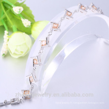 Bijoux en gros chine champagne cubique zircon carré forme rhodium plaqué bracelet
